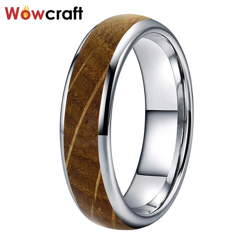 6mm Wolfram Whisky Barrel Holz Ring Für Männer Frauen Größe 5 bis 13 gewölbte Hochzeitsbänder Komfort Fit polierte glänzende Clusterringe