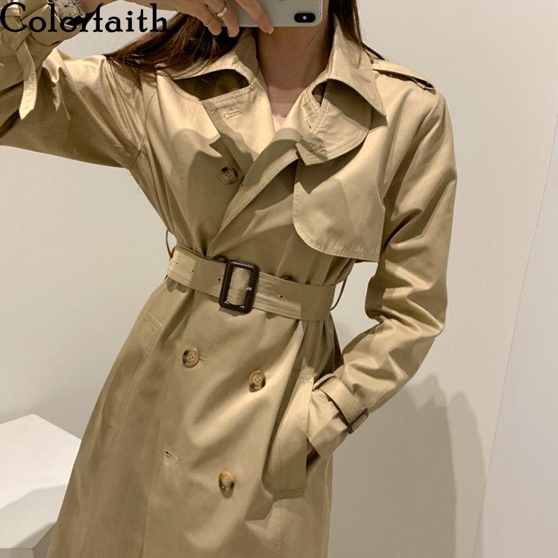 ColorFaith New 2020 осень зима женская ветровка грузов кнопки старинные негабаритные оружия Office Lady длинные траншеи JK1310