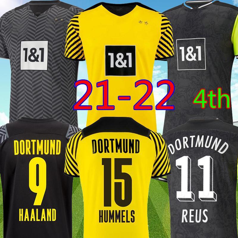 Borussia Dortmund 21 22 Away Soccer Jersey 2021 2022 Top Football Shirt Haaland Reus Neongelb Bellanho Hummels Prandt Kits رجالي + أطفال يحدد Unifomrs الرابع