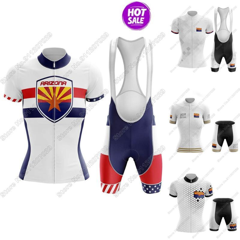 Racing Sets Arizona Women V5 - Велоспорт штатов США Штат Джерси Одежда Летняя дорога Велосипедные Рубашки Костюм Велосипедные Шорты Bib MTB Maillot