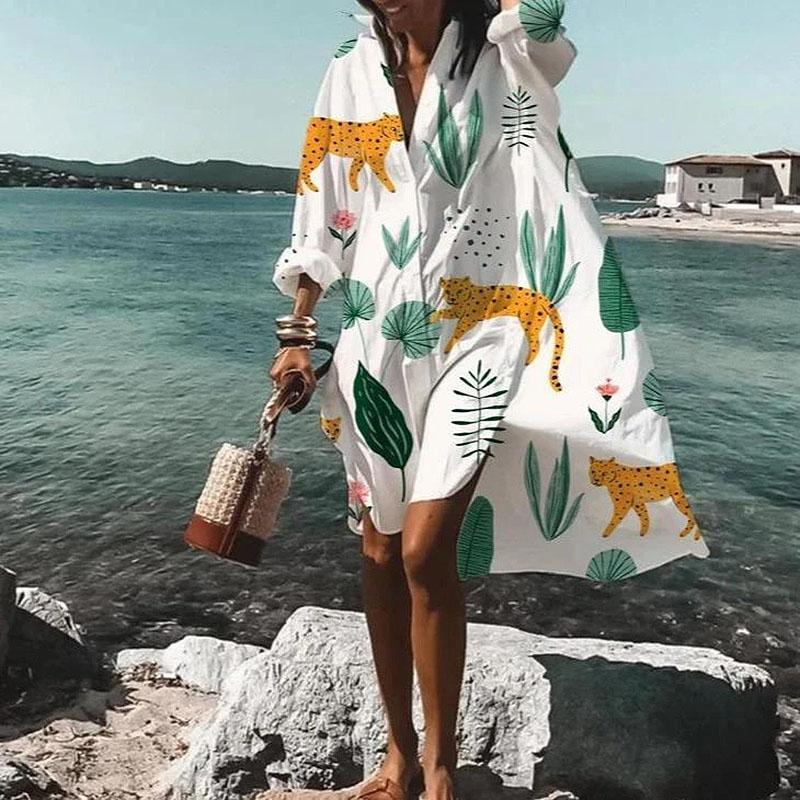 Strand Boho Kleider Frauen Hemd Kleid Frühling V-Ausschnitt Langarm Taste Damen Vintage Beiläufige Lose Mode Blumendruck