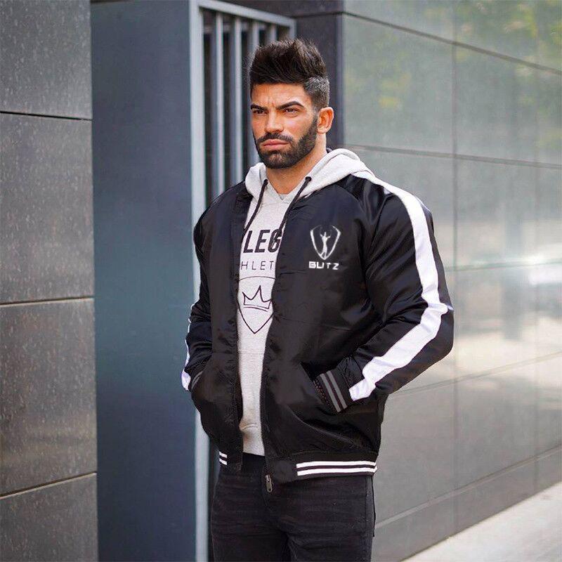 رجل butz مصمم جاكيتات الخريف الشتاء الذكور مخطط الجانب معاطف الربيع منفذها jakcet مان رقيقة سترة واقية قميص