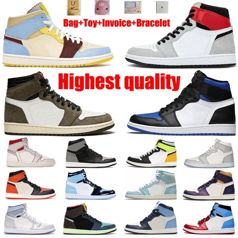 أعلى جودة أحذية كرة السلة jumpman ارتفاع أسفل مساعدة الملكي الأزرق كل النجوم مشبك شيكاغو بارب 1 ثانية سبج رمادي الرجال والنساء الركض 36-47 حجم حزام كامل الحجم