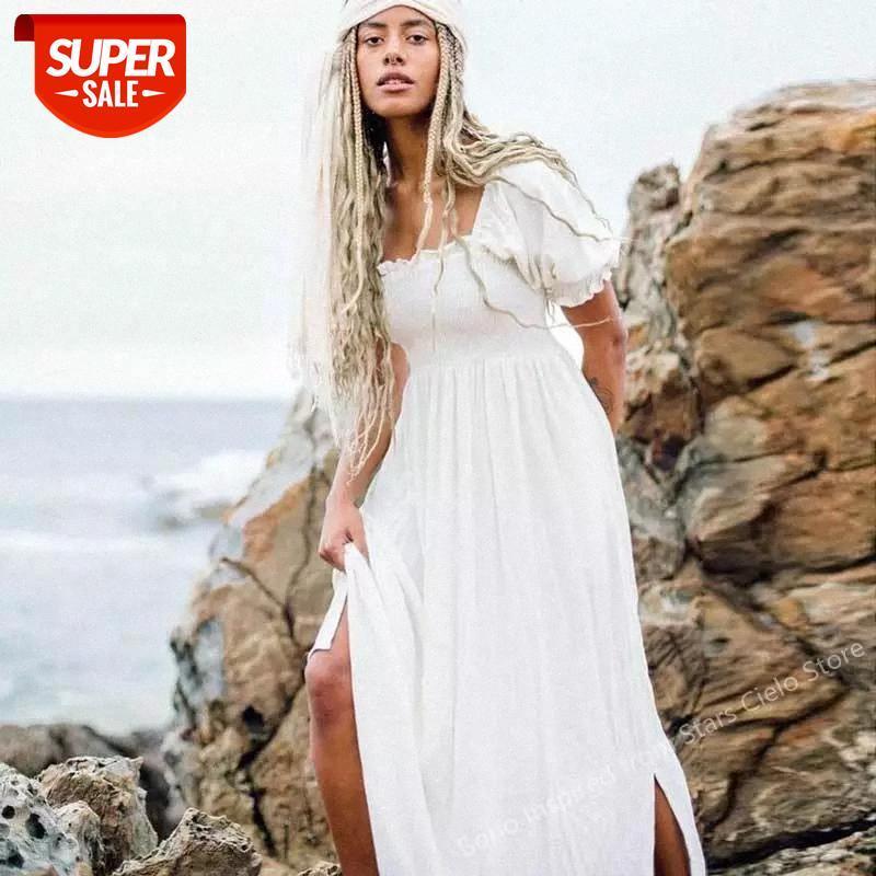 Shirred Busto Vestido de Verão Slow Slow Filled Elegante Ladies Algodão Mulher Novo Boho para Mulheres # KN77