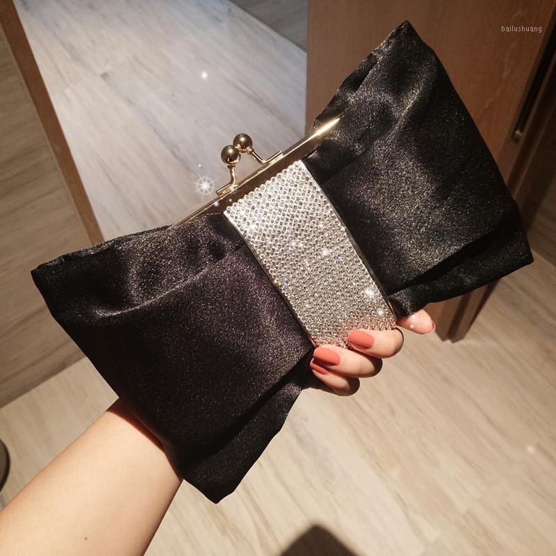 Luxy Moon Black Clutch Tasche Frauen Bogen Handtasche Kristall Diamant Kupplung Geldbörse Party Hochzeitstasche Elegante Schulter ZD14691
