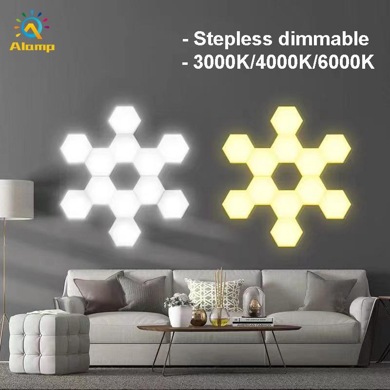 Creative Hexagonal Wall Lamp DIY Stepless Dimmable Quantum Lamps Touch Sensitive LED Night Light Hexagons 10PCS 15PCS 20PCS Home Decoration