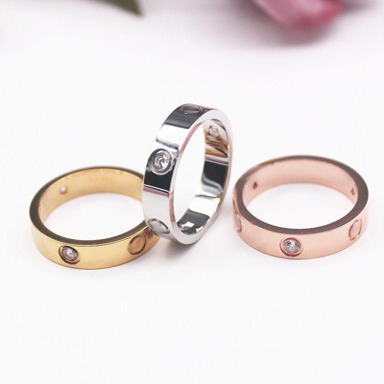 4mm 5mm 6mm Titanyum Çelik Gümüş Aşk Yüzük Erkekler Ve Kadınlar Gül Altın Yüzükler Severler Çift Yüzük Düğün Hediye Için Moda Klasik Takı Çanta Ile