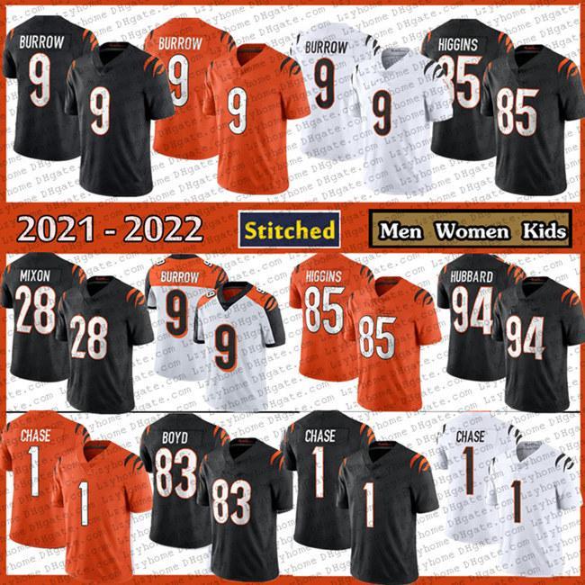 """Мужские женские молодежи 9 Joe Burrow 1 Jamrr Ja'marr Chase Football Jersey 85 TEE Higgins 28 миксон Цинциннати """"Бенгальские"""" черный оранжевый белый 2021 новый сшитые трикотажные изделия"""