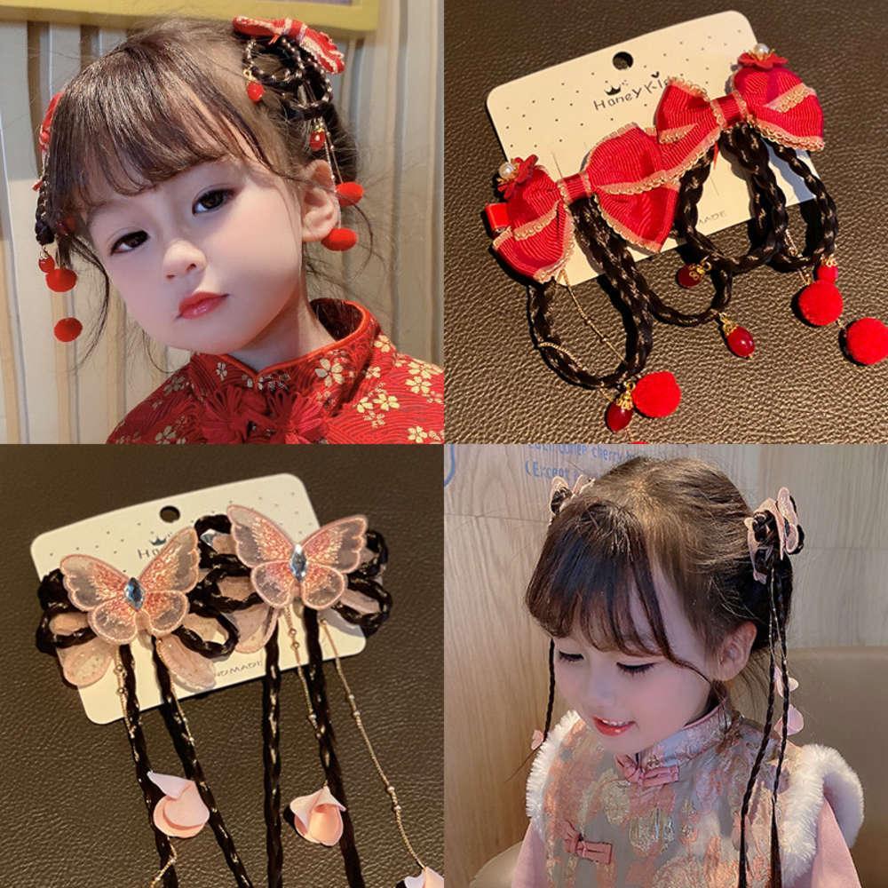 Mädchen Kopfschmuck Mode Ausländische Stil Haarnetz Netto Rot Neues Jahr Baby Hanfu Nubao Neues Jahr Perücke Braid Antike Stil