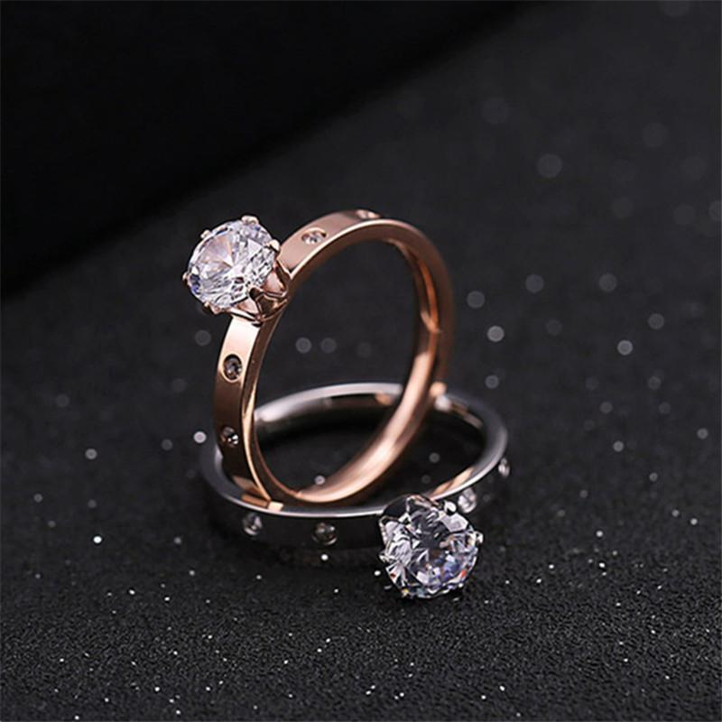 Cluster Rings 2021 Fashion Stainless Steel Woman With Stones Couple Valentine's Day Wedding And Engagement