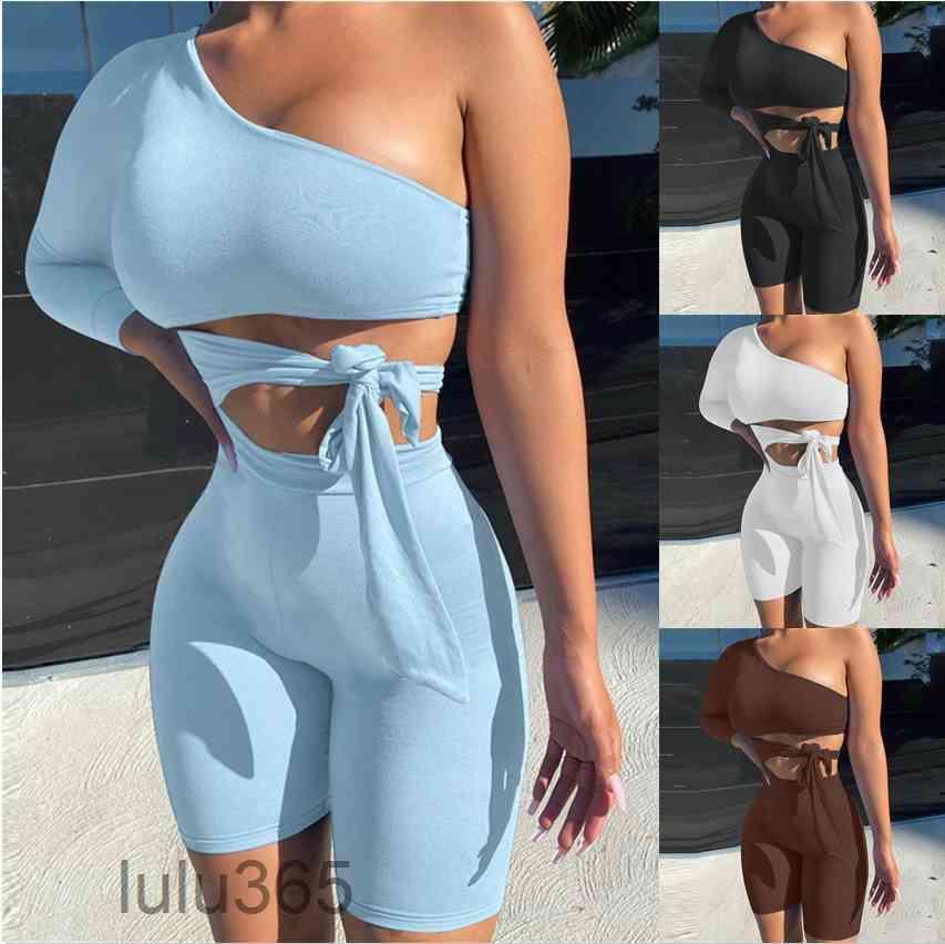 Traje de las mujeres 2021 Primavera y verano Nuevo diseñador de moda Un solo hombro Lazo Sports Sports Yoga Traje Sólido Color Slim Sets de dos piezas LULU365