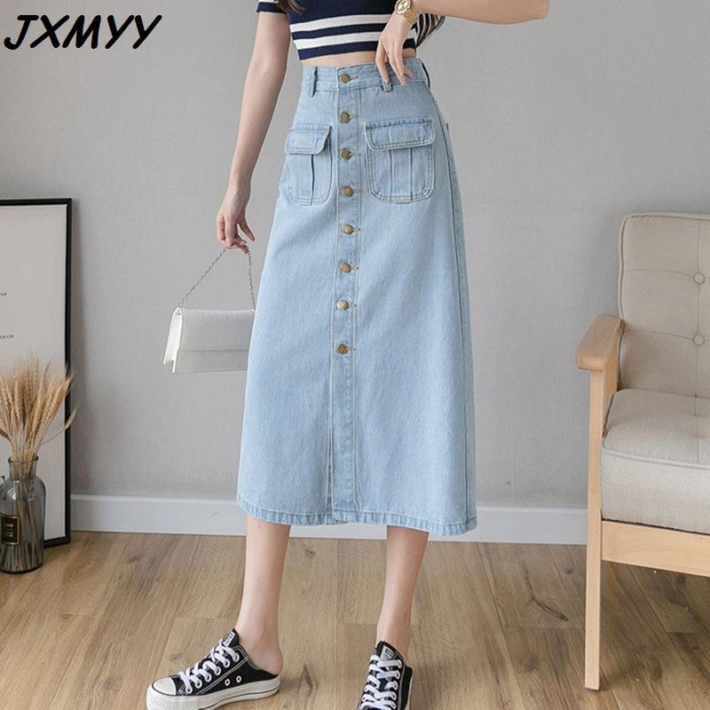 Jupe mi-longueur longue longueur longue de poche de la mode