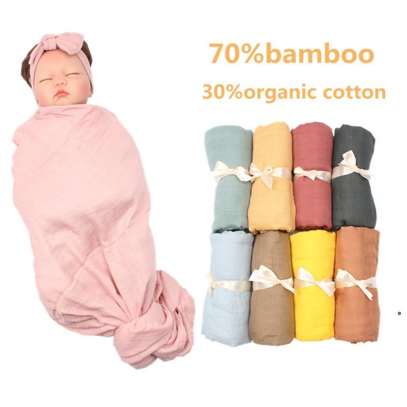 유아 Swaddling 대나무 면화 모슬린 담요 일반 색상 더블 거즈 수건 아기 swaddle 신생 욕실 목욕 수건 room nhb7153