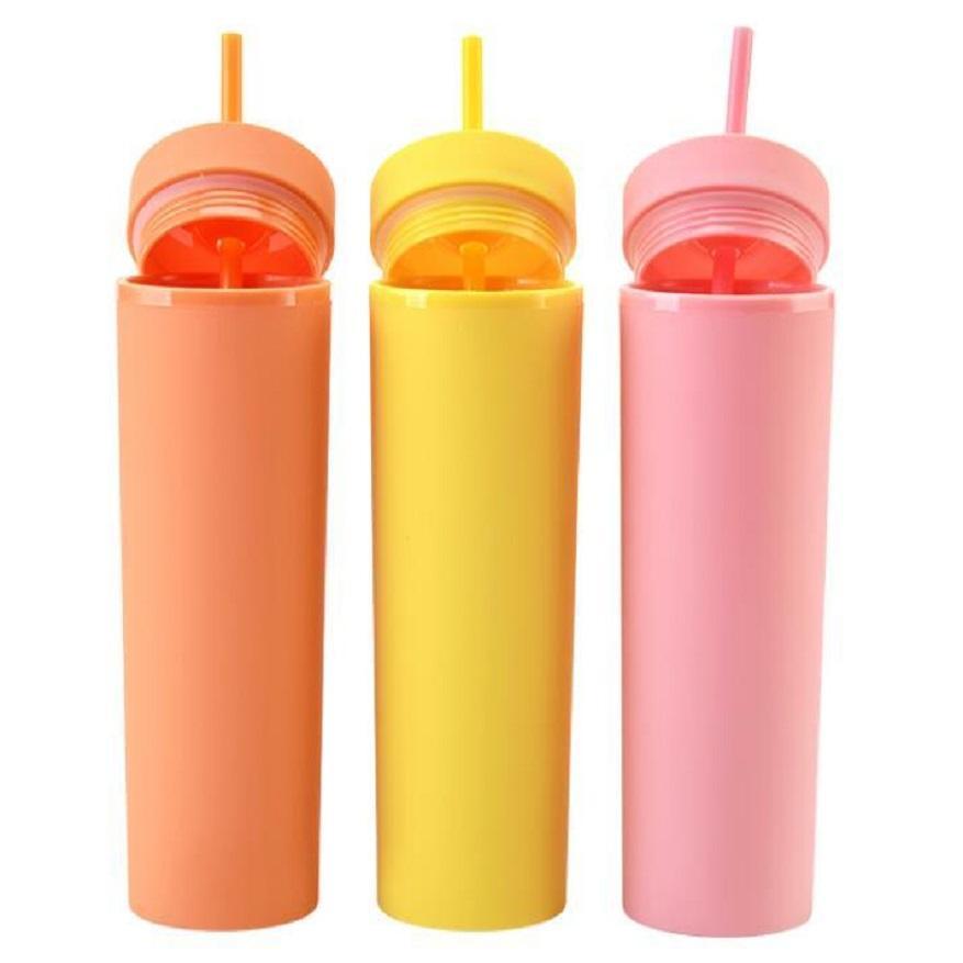 Em estoque 16oz acrílico skinny tumblers fosco cores de parede dupla garrafa de água bebendo plástico copo de plástico copo zzze6104