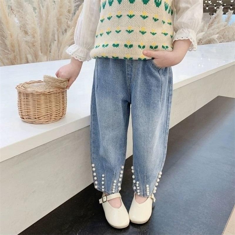 Babyinstar 2020 Nova Chegada Blue Jeans para Crianças Pérola Design Crianças Estilo De Moda Denim Calças Crianças Meninas Soltas Calças Soltas 773 V2