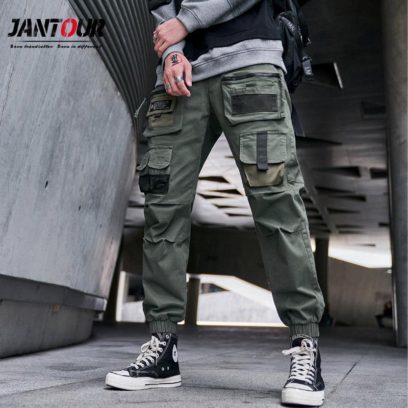 Jantou 남성 의류 남성용화물 바지 패션 2021 군사 바지 헐렁한 조깅 힙합 두꺼운 육군 - 녹색 남성