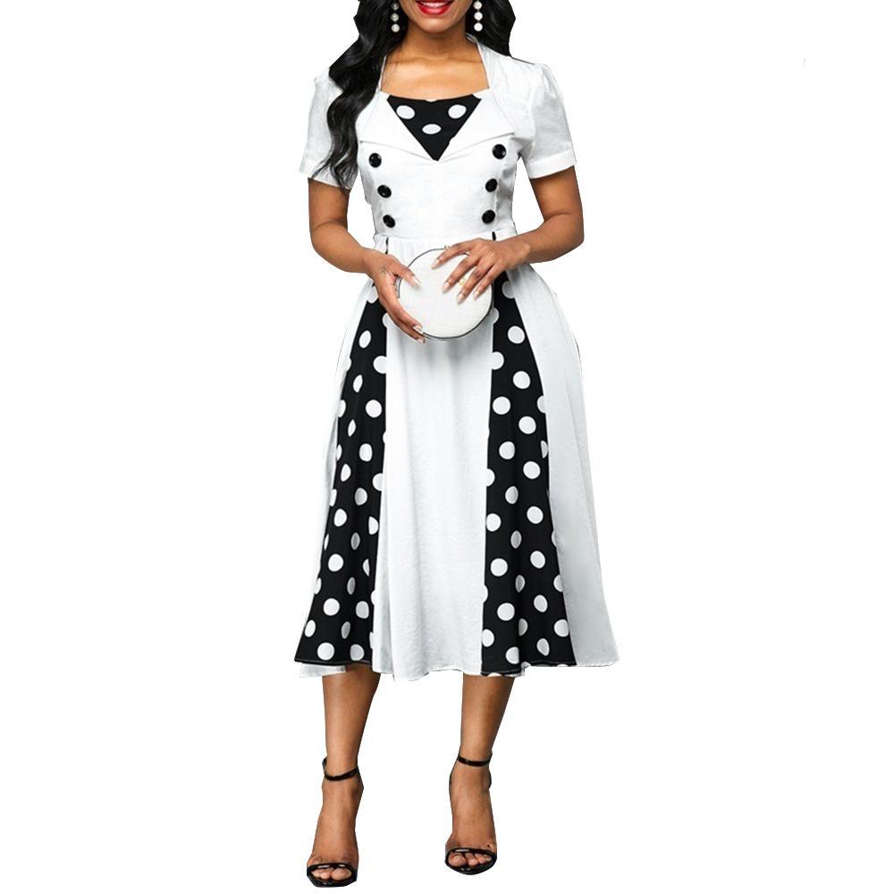 Vestido de mujer 2021 Verano Casual Tallas grandes Patchwork Slim Patchwork Punto Imprimir Bola Vestidos Vestidos de fiesta larga de Oficina Vintage Sexy X0521