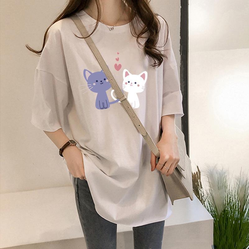 T Shirt 2771 # 190g Redonda de verano de manga corta mujer suelta y delgada camiseta media
