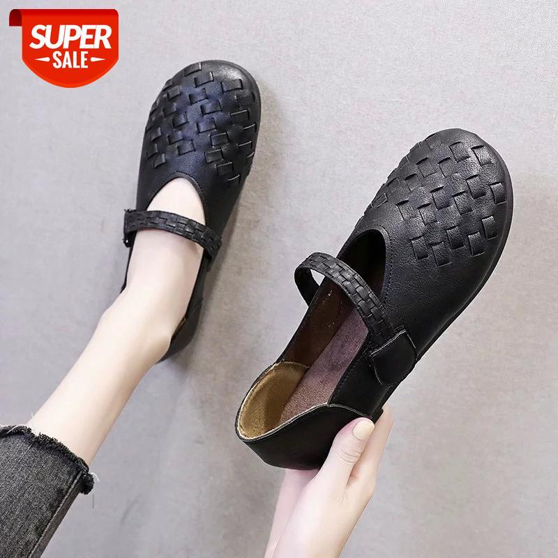Spring Autumn Slip On pumps women Shoes Hollow Breathable Leather Moccasins Female Handmade Hook loop Black Brown Casual #My7L