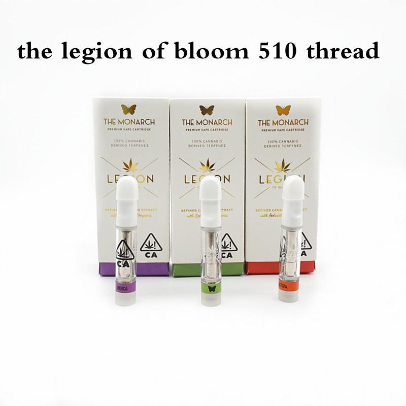 La Legión de Bloom Vacío Vaporizador de aceite Vape Vape Pens Atomizand Cartidges Packaging 1.0ml Cerámica Cera gruesa 510 Hilo Carros al Por Mayor