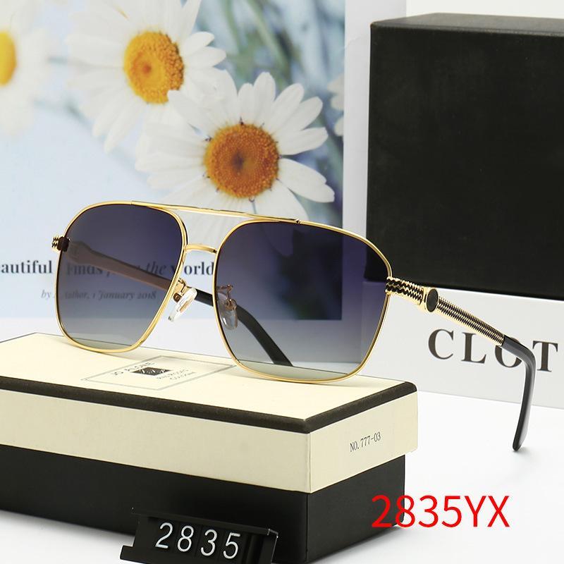 브랜드 디자이너 선글라스 남자를위한 여름 야외 모래 해변 증거 그늘 좋은 품질 드라이버의 태양 안경 안경 장면 상자 천으로 함께 광택 된 녹색 안경 # 2835