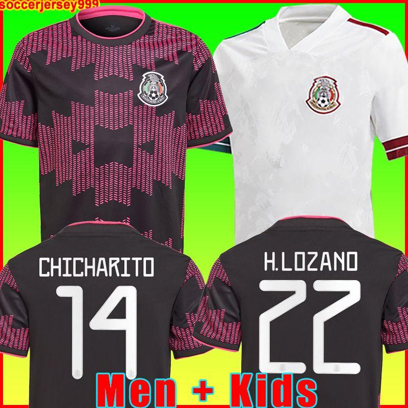 Mexico Camisa de futebol do México home preto purpal Copa america 20 21 22 CHICHARITO A. GUARDADO H. LOZANO HERRERA DOS SANTOS 2021 2022 futebol masculino + infantil uniformes kit