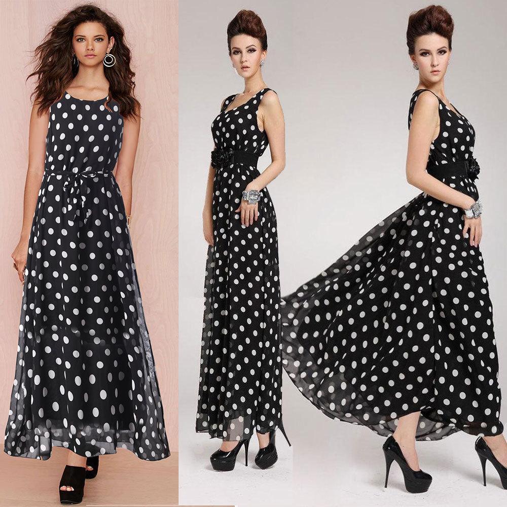 2021 Vestidos casuales largos de las mujeres Faldas de chalecos de chifón de la gasa de la gasa del punto blanco y negro