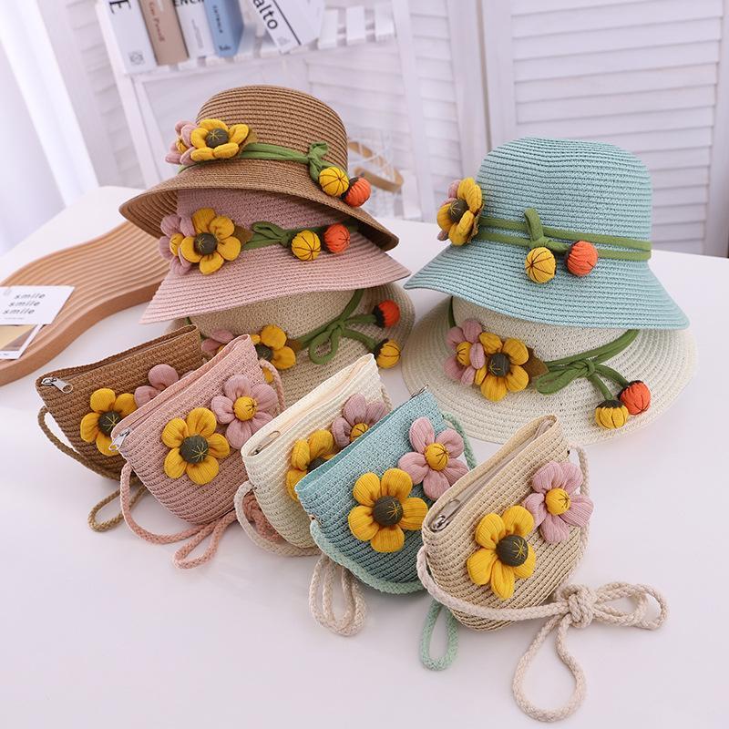 부모 - 자식 여름 2021 밀 짚 모자 2-6Y 여성 아기 소녀 일치하는 가방 태양 그늘 꽃 여행 휴가 해변 모자 모자