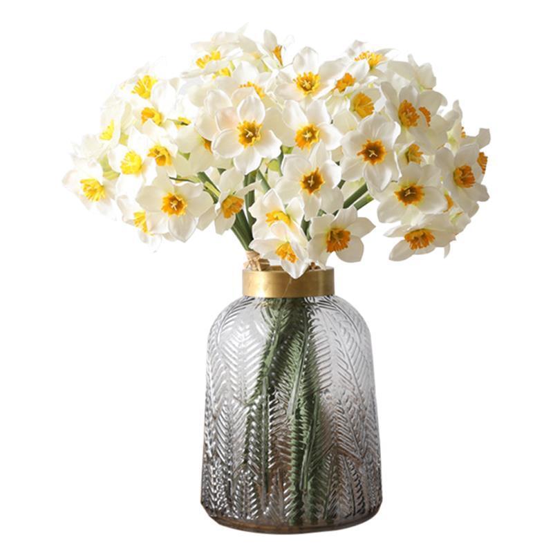 6Pcs/Bouquet Artificial Flower Daffodil Silk Flowers Bouquet For Wedding Home Decoration Fake Flower Bouquets