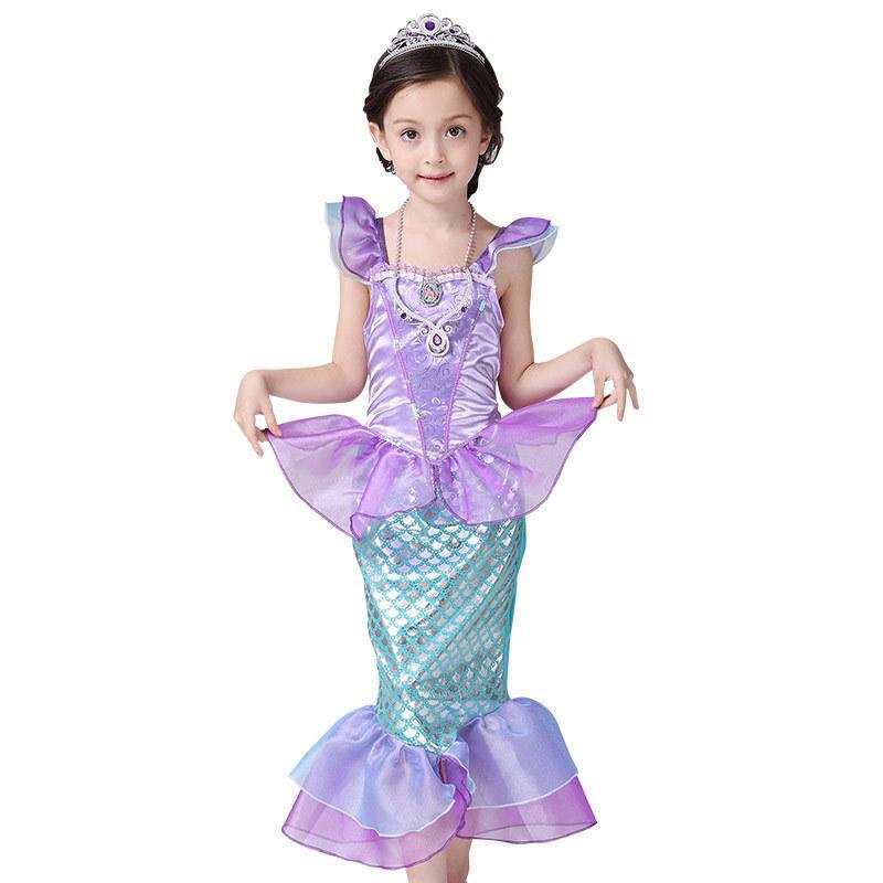Girls Little Sirena Princess Vestido Cosplay Trajes de Cosplay para Niños Muchacha Niños Ropa de Halloween