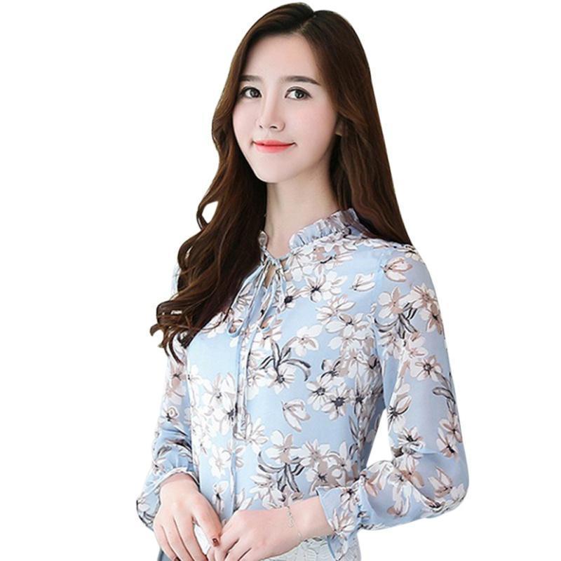 Chemise à manches longues à manches décontractées Femmes Summer Chemisier à imprimé floral Femme P4 CO1 Chemises Blouses Femmes