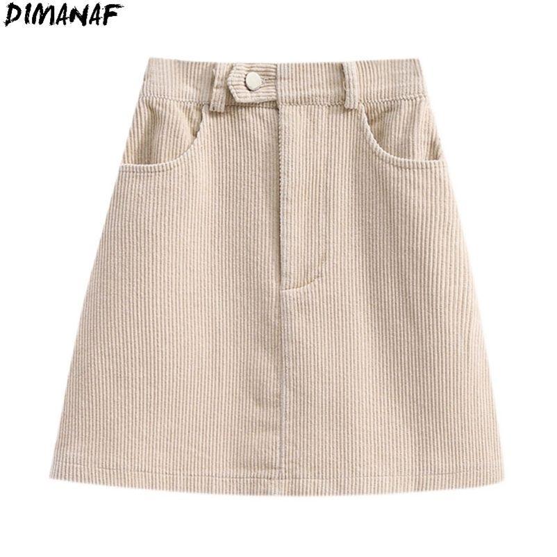 Dimanaf Plus Size Frauen Hohe Taille Rock Sexy Basic Weibliche Cord Mode Massiv Show Dünne Sommer Stil Rock Neue S-5XL 210412
