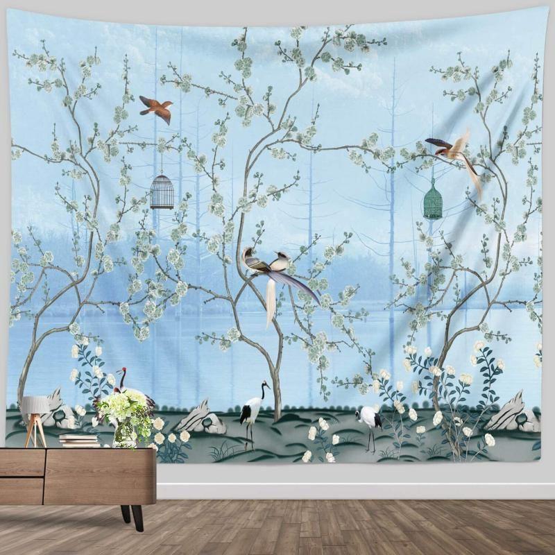 النسيج الربيع آسيا شجرة النباتات الطيور نسيج الفن الياباني جدار شنقا الكرز زهر