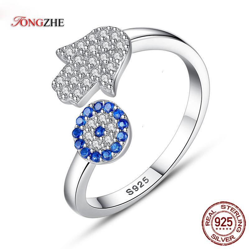Tongzhe 925 Sterling Sierling Evil Azul Ojo Hamsa Mano Fátima Ajuste Ajustable Anillos Abrir Anillo Mujeres Joyería de boda