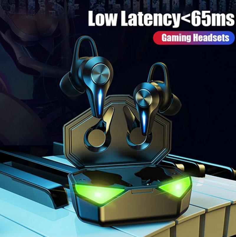 Gaming Earbuds Shump Commance TWS Bluetooth Наушники для наушников Спортивные Водонепроницаемые беспроводные наушники Нет Время задержки Геймеры E-Gamer с микрофоном света