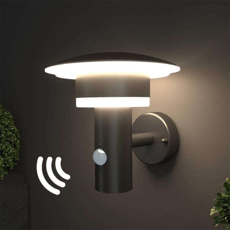 Lampada da parete a LED all'aperto, luce con sensore di movimento e interruttore in acciaio inossidabile (con sensore PIR) [A-class Energy +] lampada