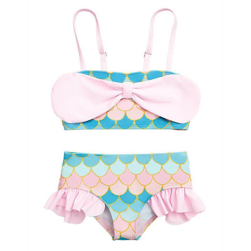 2 피스 아이 수영복 정장 아기 수영 여자 수영복 어린이 옷을 자랑하는 어린이 옷 입욕 해변 2-5Y B4957