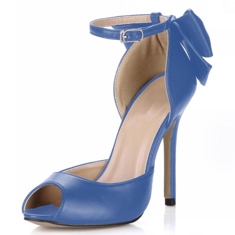Stiletto NightClubs Peep Toe Sandálias Vermelhas Bowtie Sapatos Mulher 12cm Salto Fino Feminino Cinta De Ankle Sweet Bombas