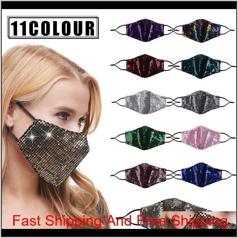 Tampas engrenagem esportes outdoors moda bling lantejoulas ciclismo protetor pm2dot5 poeira à prova de poeira máscaras lavável mulheres reutilizável face máscara dro