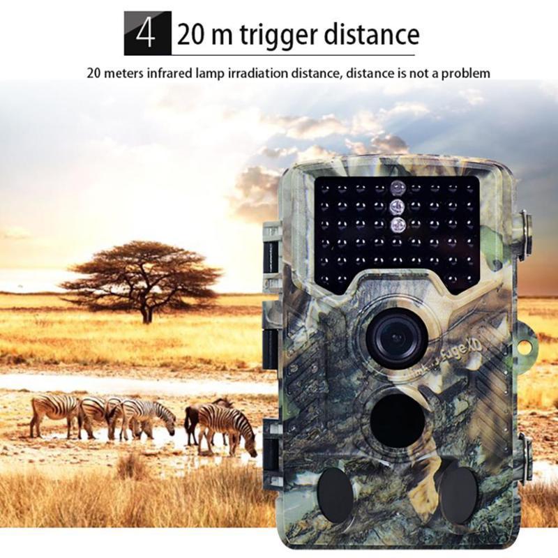 PO 트랩 나이트 비전 1080P HD 130 ° 비디오 야생 흔적 사냥 CameraIP66 방수 밤 카메라