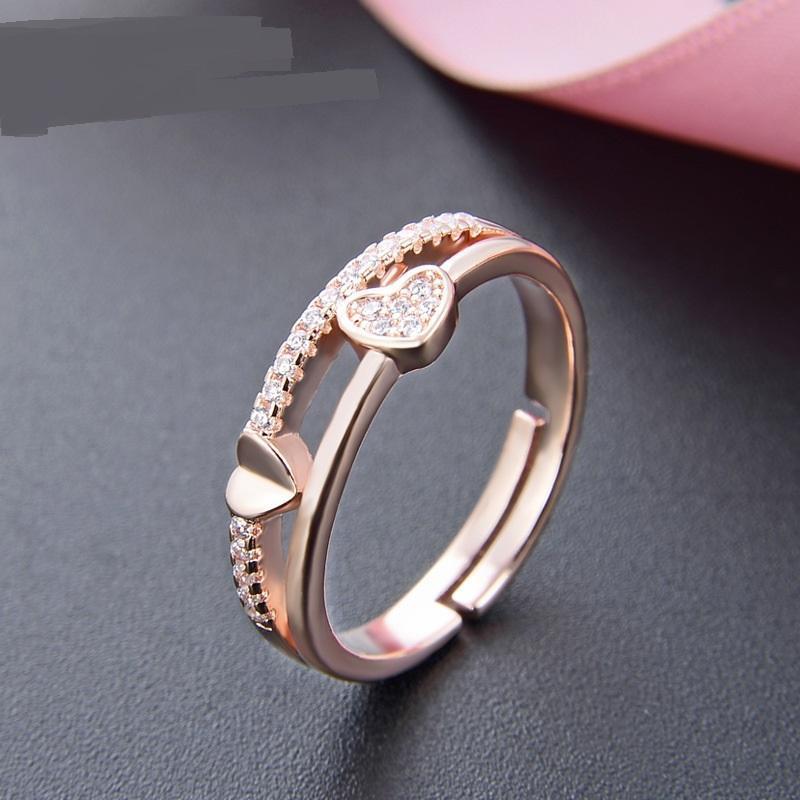 Femae Hochzeit funkelnd Zirkon Ring Rose Gold Verlobungsringe für Frauen Feine Schmuck Einstellbare Geschenk Großhandel