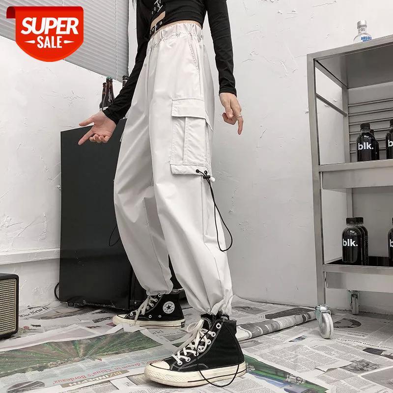 Pantolon Sıcak Büyük Cepler Kargo Kadınlar Yüksek Bel Gevşek Streetwear Baggy Taktik Pantolon Hip Hop Kalite Joggers Partisi # DU5G