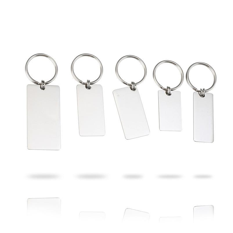 100% Retângulo de Aço Inoxidável Chaveiro Chaveiro Em Branco Para Gravar Metal Retângulo Tag Keychain Espelho Polido Por Atacado 10 Pcs 210409