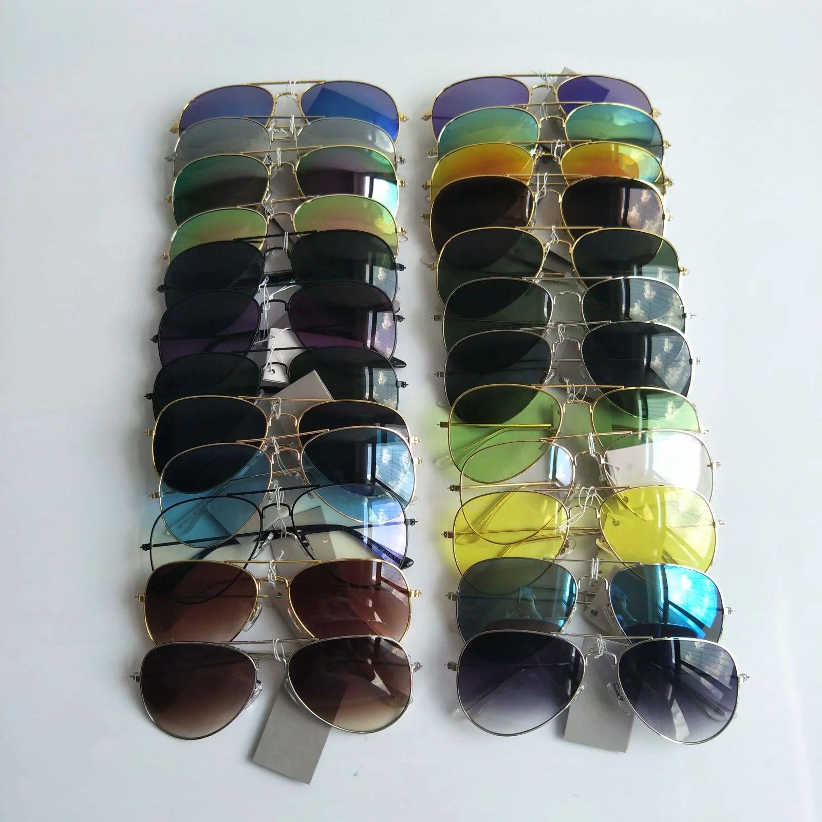 الطيار الكلاسيكي النساء النظارات الشمسية الإطار المعادن الراتنج الرجال نظارات الشمس حماية العين uv400 ماركة ماركة نظارات بالجملة 58mm 24 الألوان