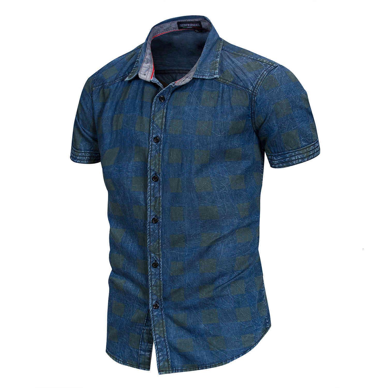 Erkek Casual Gömlek Moda Erkekler Fit Ince Kısa Kollu Katı Ekose 100% Pamuk Denim Gömlek CGUI