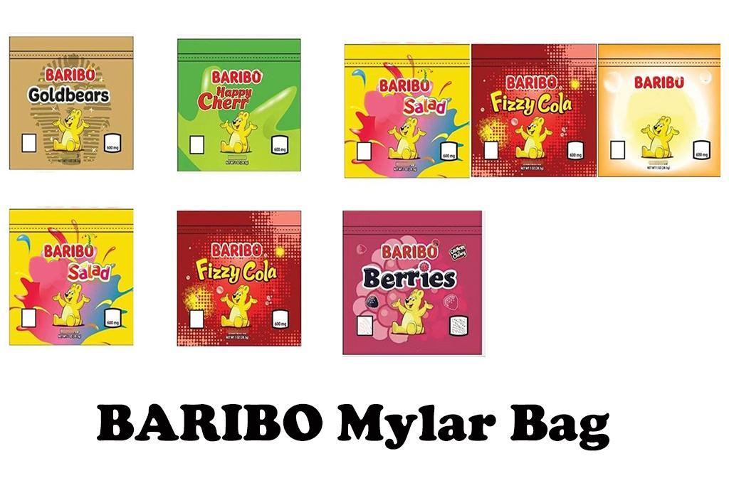 Stokta paketleme çantası 600 mg baribo lezzet çanta sakızlı şeker ekşi sıfırlanabilir yenilebilir bitki çiçek fermuar kuru perakende paketi Kuzey Amerika
