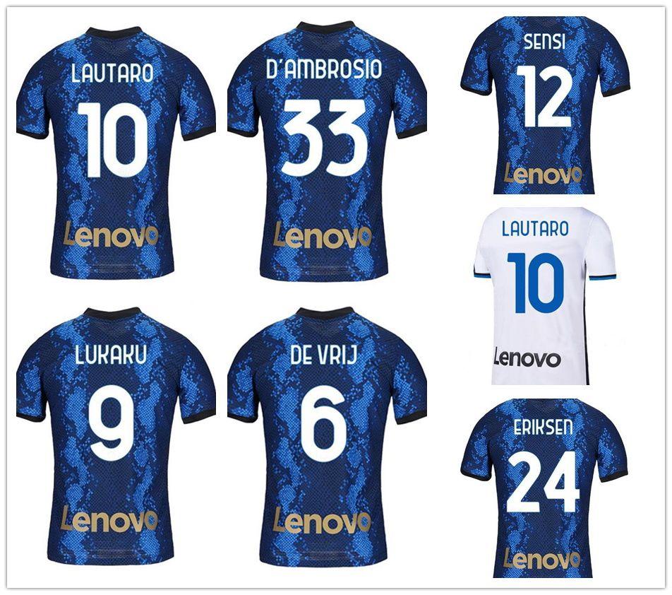 Anpassad 21-22 10 Lautaro 9 Lukaku 7 Alexis Soccer Jerseys 77 Brozovic 8 Vecino 10 Lautaro 14 Nainggolan 12 Sensi Fotboll Fotbollskläder