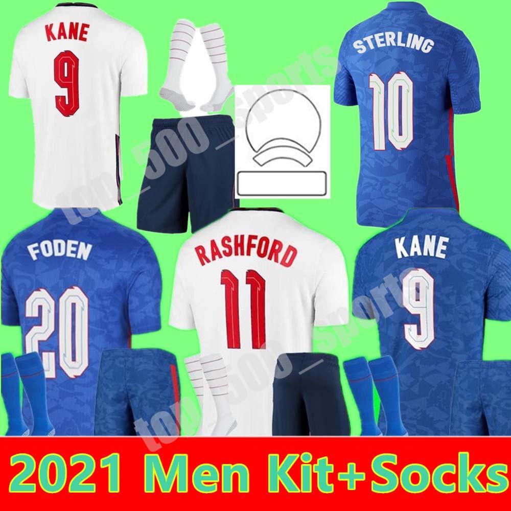 2021 Foden Kane National Team 축구 유니폼 남성 키트 괴상한 스털링 라슈포드 22 홈 멀리 Camisetas de Fútbol 축구 셔츠