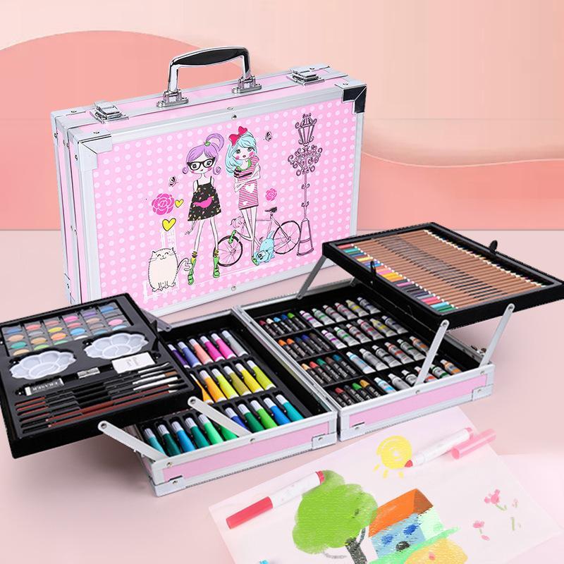 145 Double Aluminum Set Children's Watercolor Pen Case Art Painting Stationery Gift Box