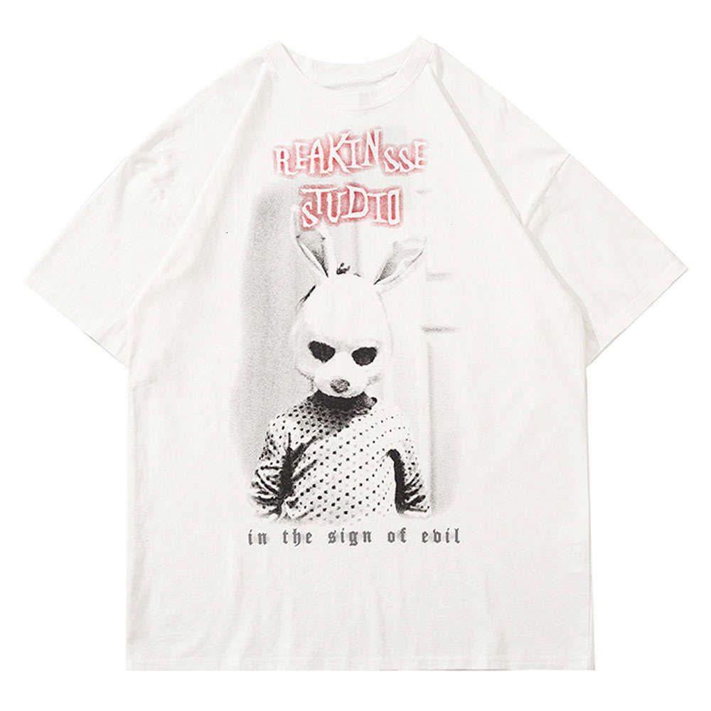 Tees Shirts Streetwear Rabbit Mask Poster Print T-shirts Heren Hip Hop Casual Short Mouw Harajuku Fashion Summer Tops